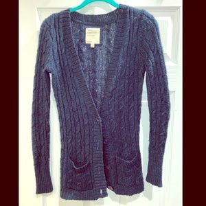 Navy blue cable knit sweater cardigan